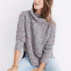 MADEWELL Colorfleck Rib Turtleneck Chunky Sweater